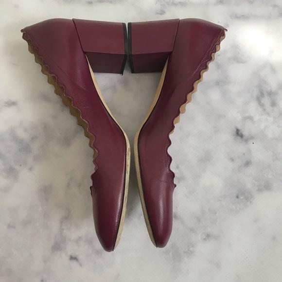 b83aa3118 Chloe Shoes | Burgundy Lauren Scalloped Block Heel Pumps | Poshmark